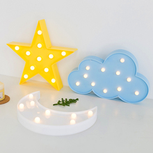 Amagle 3D Moon Lamp Night Light Cloud Moon LED Stars Lamp with Battery Kid Room Led Wall Light Marquee Sign Luminaria Table Lamp