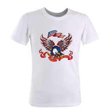 2017 New Summer Style Men's Short T Shirt Eagle Printing Happy New York(China)