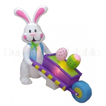 New airblown 10ft giant inflatable easter bunny with eggs wheelbarrow for party/advertising/events