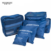 WILIAMGANU Nylon Packing Travel Bag System Durable 6 Pieces One Set Large Capacity Of Bags Unisex Clothing Sorting Organize Bag