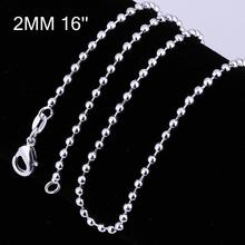 2mm Thick 16/18/20/22/24 inch Brass Ball Chain Necklace Jewelry Making, with Lobster Claw Clasps, Silver