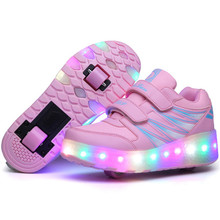 2016 Children LED Roller Skate Shoes With Wheels Girls Boys Light Black Pink Kids Shoes Jazzy Junior Sneakers With One/Two Wheel