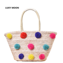 Colorful Wool Ball Pom Beach Bag Shopping Basket Chic Woven Straw Handbags for Women Large Shoulder Bag Novetly Summer Totes A31(China)