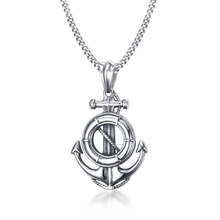 Stainless Steel Rudder Anchor Pendant Necklace For Men Ocean Nautical Navy Sailor Necklace Men Jewelry(China)