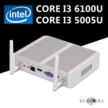 Intel Core i3 6100U Eglobal Skylake Mini PC HTPC Fanless Nettop Computer Windows 10 2.3GHz DDR4 Memory WiFi VGA HDMI
