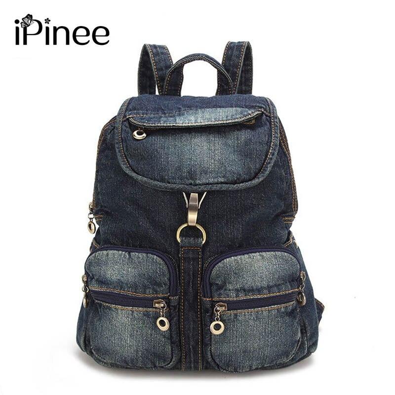 iPinee All-match Womens Backpack Denim Daily Backpack Vintage Backpacks Travel Lady Bag 2017 Rucksack Bagpack School<br>