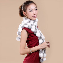 2016 New Women Winter Rex Rabbit Fur Scarf Lady Knitted Fur Scarves Ball Stole Cap Shawl Luxury Long Muffler 007