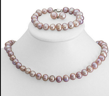 Jewelry 001295 Genuine 8-9mm Purple Freshwater Cultured Pearl Necklace Bracelet & Earrings Set hot