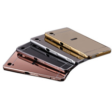 Coque for Sony Xperia Z3 Z4 M4 Aqua/Dual Mirror Metal Aluminum+Acrylic Hard Back Cover Shockproof Armor Phone Case Accessory
