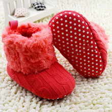 Hot SalesToddler Knited Faux Fleece Crib Snow Boots Kid Bowknot Woolen Yam Fur Knit Shoes