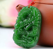 green Chinese Hetian Jade Hand-carved dragon Pendant(China)