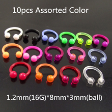 1.2x8x3mm Mixed Color Soft Bioplast Acylic Circular Barbells Horseshoe Lip Ring Body Piercing Jewelry Free Shipping