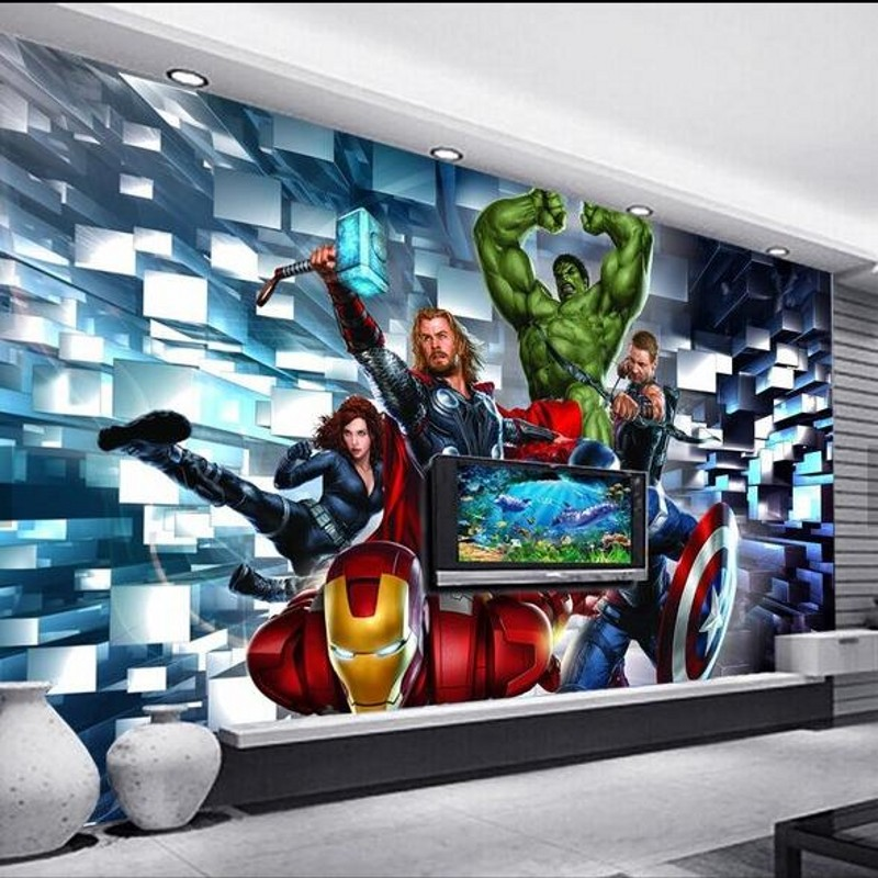 Avengers 3D stereoscopic TV backdrop cartoon background wallpaper modern fashion decorative painting interior murals childrens<br><br>Aliexpress
