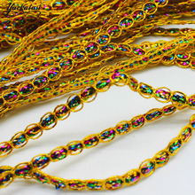 YACKALASI 100 Meters/Lot Gold Rainbow Ribbon Colored Lace Braid 0.8CM- Color Name is Not correct