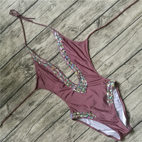 summer v style one pieces crystal swimwear sexy rhinestone swim suit 2017 women diamond swimsuits female bodysuit monokini<br>