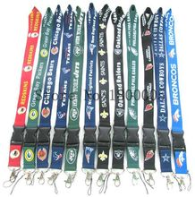 100 X NFL Lanyard Man Women Boy Girls Sport Teams Mixed Lanyard For Key chains ID Badge Cell Phone Charms Neck Strap Lanyards