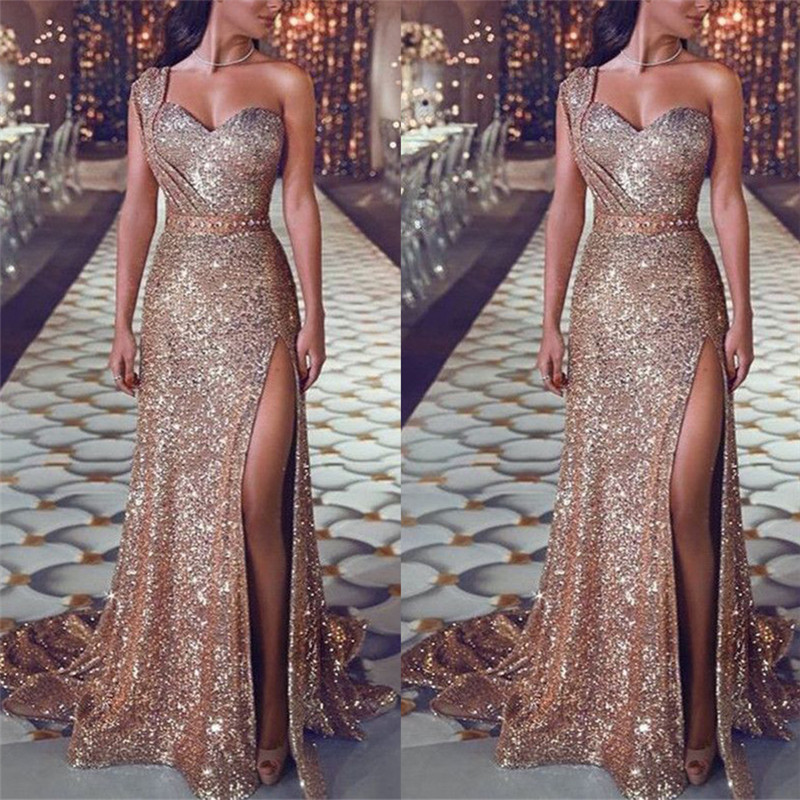 2019 Women Summer Sexy Party Night Dresses Elegant Gold Backless Maxi Strapless Dress