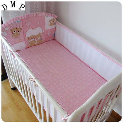 Promotion! 5PCS Mesh Bear Baby Bedroom Set Crib Newborn Baby Bed Linens for Girl Boy Cartoon Cot Bedding,include(4bumpers+sheet)<br>