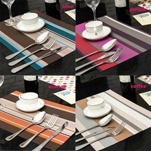 Hot Sell Practical PVC Striped  Placemat pvc dining table mat disc pads bowl coasters waterproof table cloth slip-resistant pad