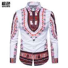 Men's Clothing Shirt Blusas New Fashion Wind Printing Men's Shirt Blouses Camisa Masculina Manga Longa Coat XC08(China)