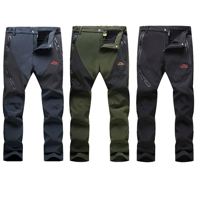 Men Winter Warm Softshell Hiking Pants Outdoor Fleece Waterproof Windproof Long Trousers Sports Trekking Camping Pants RM017<br><br>Aliexpress