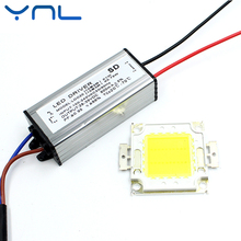 YNL 1Set Real Watt 10W 20W 30W 50W COB LED Integrated Lamp Chip with LED power supply driver For LED Floodlight Spot light(China)