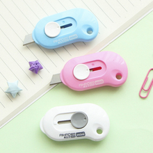 Cute Solid Color Mini Portable Utility Knife Paper Cutter Cutting Paper Razor Blade Office Stationery Escolar Papelaria(China)