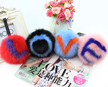 10CM Big Fluffy Initial Pom Pom Keychains Handmade Real Mink Fur Ball Key chains Bag Charm Monster Alphabet Letter Pompoms gift(China)