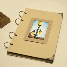 A4 Retro Kraft Paper Album DIY 4 Ring Wire Binding Sticky Type Creative Personality Couple Classmates Recorded Baby Album(China)