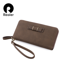 REALER brand women wallet casual long purse zipper wallet female small clutch bag with bowknot ladies purses(China)
