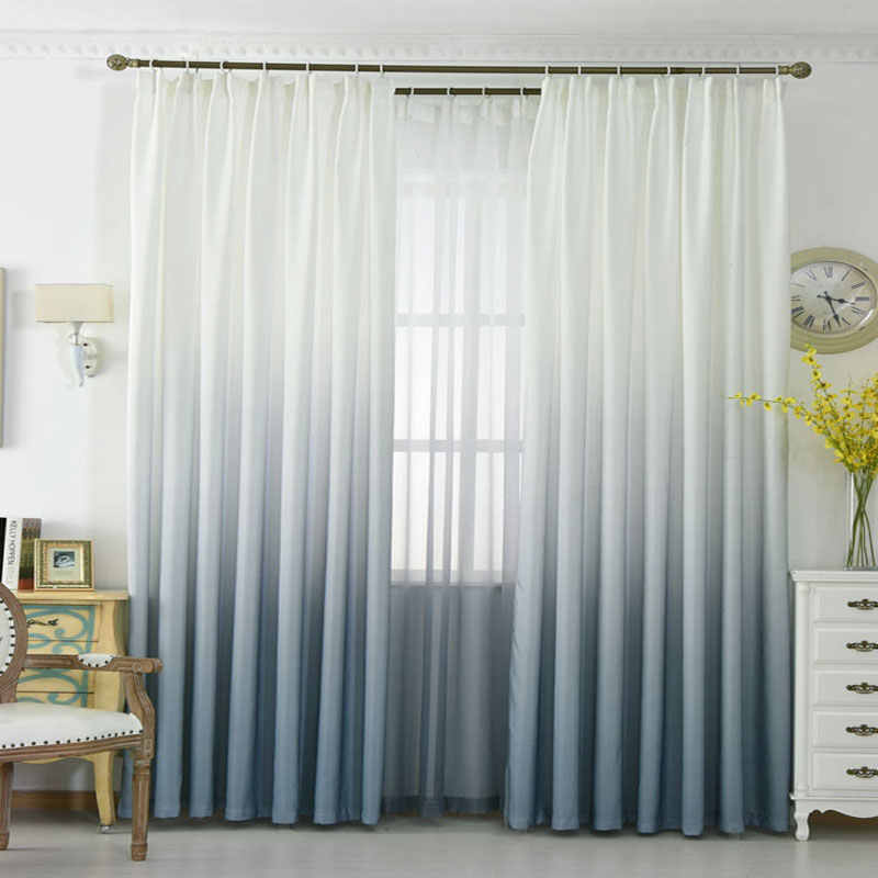 Grey Orange Blue Gradient color window curtains for living room bedroom kitchen tulle curtains and blackout curtains for window