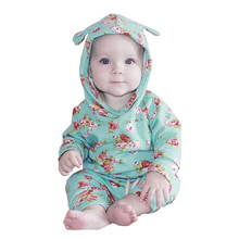 2017 new autumn Baby Newborn Boys Girl 2pcs Clothes Set Floral Hoodie Tops+Pants Outfits drop shopping #es