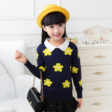 Kids Autumn Clothes Girls Turtleneck Sweaters Childrens Cartoon Clothes Girl Knitwear Pullove Sweaters Kids Print Floral Sweater