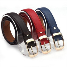1 pc Fashion Women Belt Hot Ladies Faux Leather Metal Buckle Straps Girls Summer Dress Accessories(China)