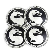 65MM 4x Dragon Mortal Kombat Symbol Logo Steering Wheel Center Hub Cap Emblem Badge Decal Symbol Sticker For VW CC BMW Ford 2376