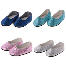 Fashion Colorful Shoes Pair of Bling Bling Sequins Shoes for 14/18'' American Girl Journey Doll Shoes Dress Up Dolls Accessories