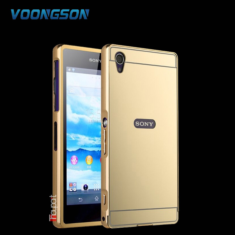 Sony Xperia Z1 L39h C6906 C6903 Luxury Gold Plating Armor Aluminum Metal Frame + Mirror Acrylic Case Back Cover SONY Z1
