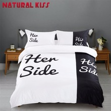 2017 New Black&white Her Side His Side Bedding sets QueenSize Double Bed 4pcs Bed Sheet Pillowcase Linen Couples Duvet Cover Set(China)