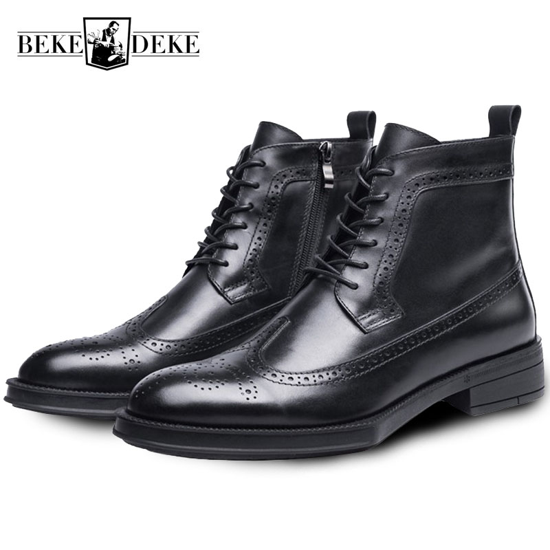 Men/'s Patent Leather Ankle Boots Wingtip Brogue Winter Shoes High Top Hot Warm