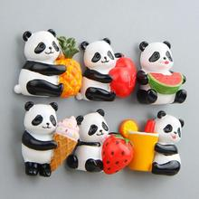 1Pc Cute Panda Magnet Fridge Sticker 3D Cartoon Fruit Animals Magnetic Refrigerator Decoration Household Accessories 3