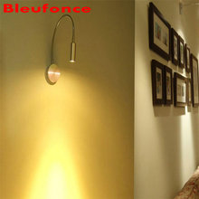 Wall Light LED Wall Lamp 3W Flexible Hose  Silver Aisle Corner Bedside Reading Light Study Painting Wall Lighting nb37
