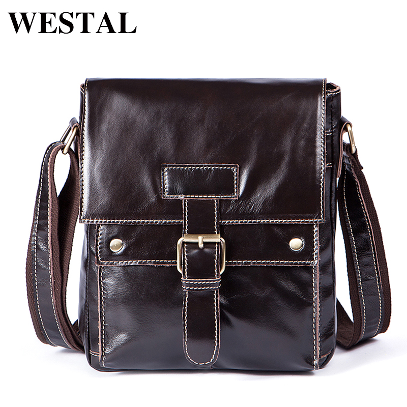 WESTAL Genuine Leather Men Bags casual mens Messenger Bag flap Shoulder Crossbody Bags male men leather bag handbags 9040<br>