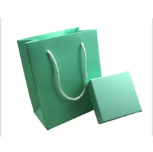 New Arrivals 2set/lot Lake Blue Color Shopping Bag Packaging / Jewelry Gift Paper Boxes and Gift Paper Bag Set for Jewelry Bag