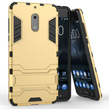 "For Nokia 6 5.5"" Case Slim Hard Back Phone Case Robot Armor Protector Hybrid Rugged Rubber Cover For Nokia 6 5.5 inch"