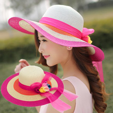 2017 Summer New Sunscreen Shade Lady Girl Sun Straw Hats Flower Stitching Anti-UV Big Rainbow Gorgeous Sweet Beach Folding Hats