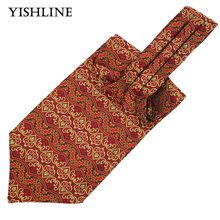 LJ12-01 Mens Vintage Red Yellow Floral Wedding Ties Formal Cravat Ascot Scrunch Self British Style Gentleman Neck Tie Luxury(China)
