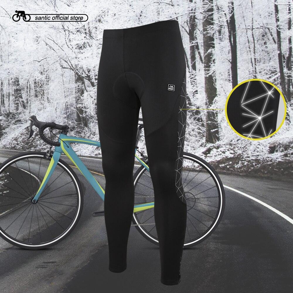 Santic Men Cycling Long Padded Pants Winter 4D Cushion Pad Reflective Thermal Pants Keep Warm Cycling Pants Asian M-3XL K7MB018<br>