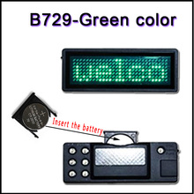 B729-G  green color LED name badg  Name card Programmable Scrolling LED Name Message Advertising Tag Card Badge Sign panels