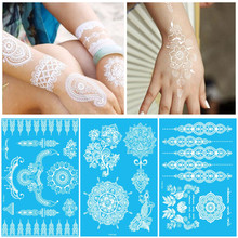 Wit Lichaam Verf Flash Tattoo Geïnspireerd Sticker Henna Kant Inkt Mode Body Art Water Transfer Gezicht Lichaam Schilderen Decals Stickers