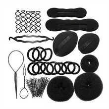 Hot 14pcs DIY Magic Hair Braiding Sponge Donut Bun Fluffy Pads Spiral Hair Clip Hairpins Ponytail Twist Hairstyling Tools Set(China)